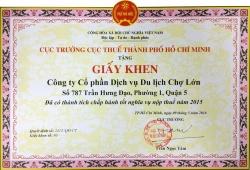 Cholontourist nhận giấy khen của cục thuế vì thành tích chấp hành tốt chính sách thuế 2015